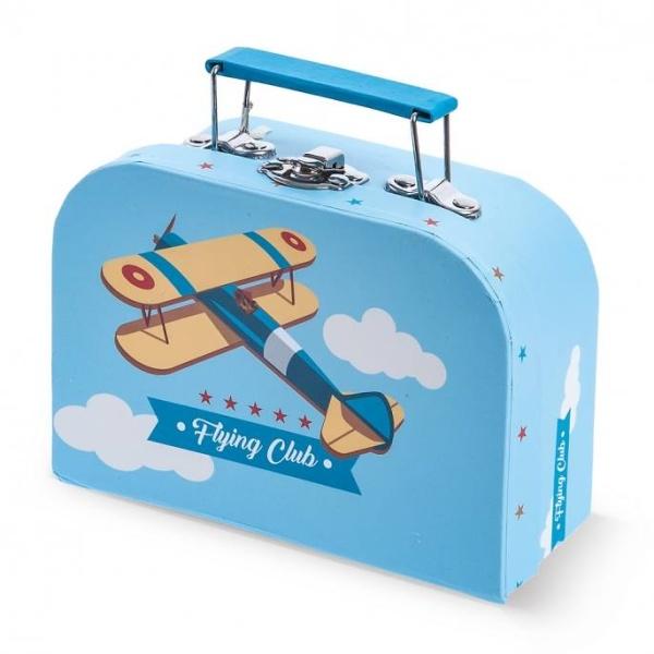 Βαλιτσάκι Γαλάζιο με Θέμα Αεροπλάνο - Βαλιτσάκι Μπομπονιέρα για προσκλητηριο από χαρτί και χαρτόνι