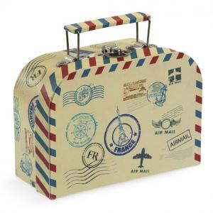 Vintage με Θέμα Ταξίδι - Βαλιτσάκι Μπομπονιέρα για προσκλητηριο από χαρτί και χαρτόνι